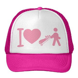 I Heart Golfing Golf Pink White Women's Ball Cap Trucker Hat