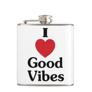 I heart good vibes funny drinking flask