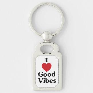 I heart good vibes rectangle keychain