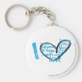 I Heart Graffiti Aqua Keychain