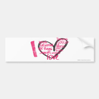 I Heart Graffiti Magenta Bumper Sticker