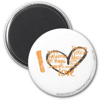 I Heart Graffiti Orange 2 Inch Round Magnet