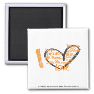 I Heart Graffiti Orange Fridge Magnet