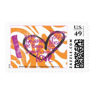 I Heart Graffiti Purple Postage Stamp