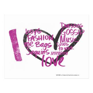 I Heart Graffiti Purple Postcard
