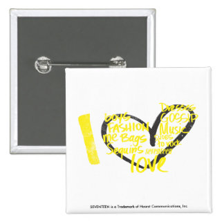 I Heart Graffiti Yellow Button