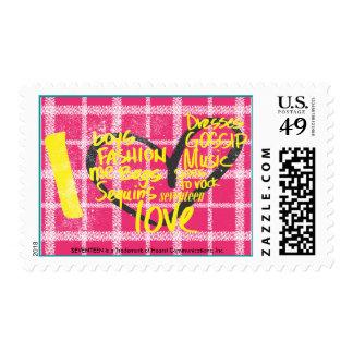 I Heart Graffiti Yellow Postage Stamp