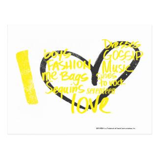 I Heart Graffiti Yellow Postcard