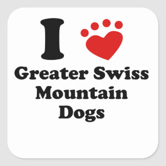 I Heart Greater Swiss Mountain Dogs Square Stickers