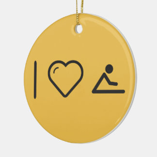 I Heart Gymnast Sittings Double-Sided Ceramic Round Christmas Ornament