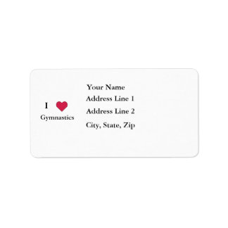 I Heart Gymnastics Address Label