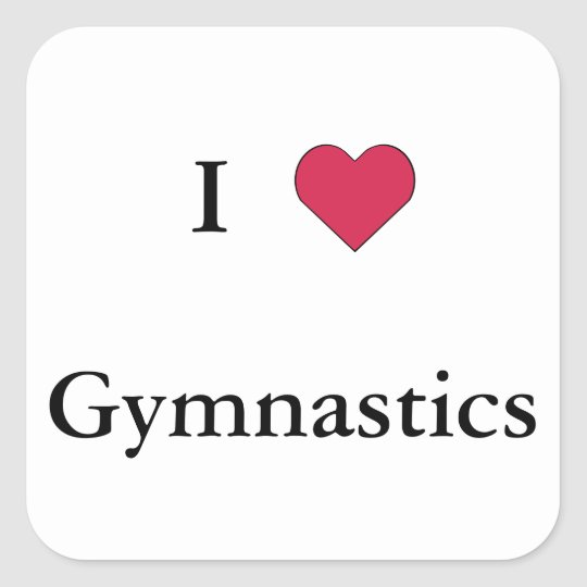 I Heart Gymnastics Square Sticker