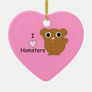 I Heart Hamsters Ceramic Ornament