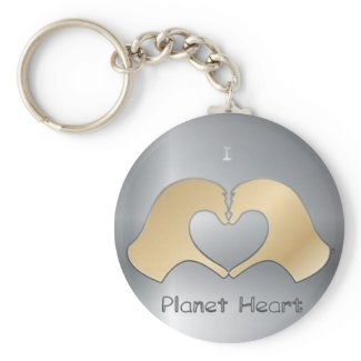 I Heart Hand Planet Heart keychain