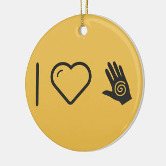 I Heart Hand Tattoes Double-Sided Ceramic Round Christmas Ornament