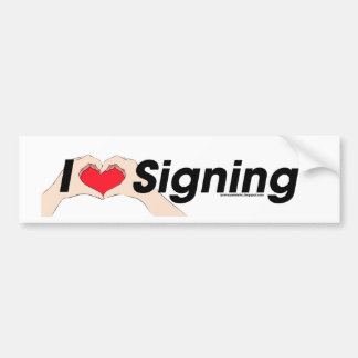 I heart Hands Signing Car Bumper Sticker