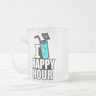 I Heart Happy Hour Frosted Glass Coffee Mug