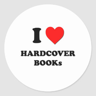 I Heart Hardcover Books Round Stickers