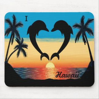 I Heart Hawaii Dophins Ocean Sunset Palm Trees Mouse Pad