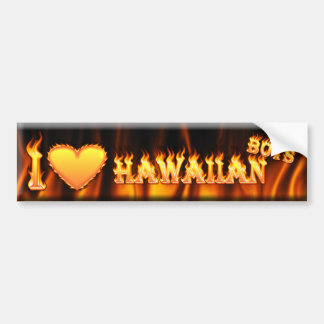 i heart hawiian boys car bumper sticker
