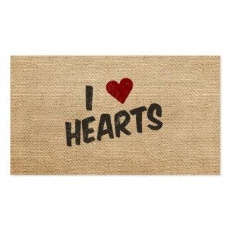 I Heart Hearts Burlap Business Cards