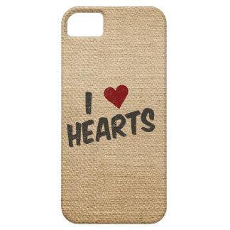 I Heart Hearts Burlap iPhone SE/5/5s Case
