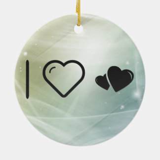 I Heart Hearts Stalkers Double-Sided Ceramic Round Christmas Ornament