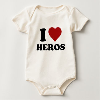 I HEART HEROS BABY BODYSUIT