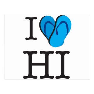 I Heart HI Hawaii Flip Flops Postcard