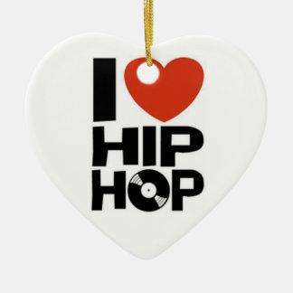 i-heart-hip-hop ceramic ornament