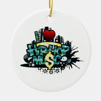 I Heart Hip Hop Music Ceramic Ornament
