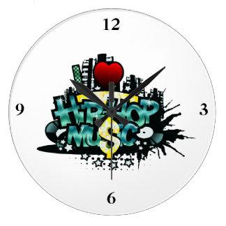 I Heart Hip Hop Music Large Clock