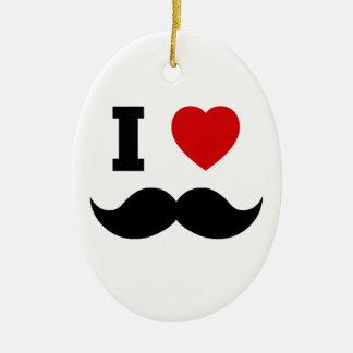 I Heart Hipster Mustache Ceramic Ornament