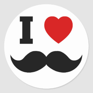 I Heart Hipster Mustache Classic Round Sticker