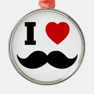 I Heart Hipster Mustache Metal Ornament