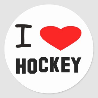I Heart Hockey Classic Round Sticker
