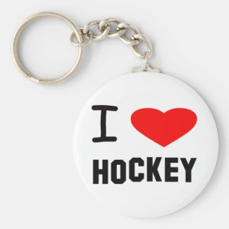 I Heart Hockey Keychain