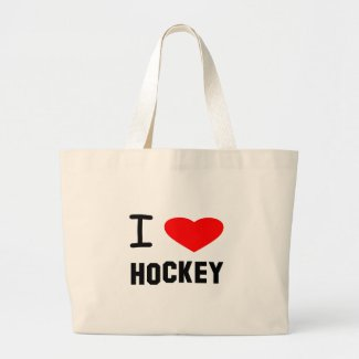I Heart Hockey Large Tote Bag