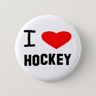 I Heart Hockey Pinback Button