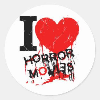 I HEART HORROR MOVIES CLASSIC ROUND STICKER