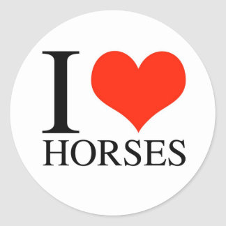 I Heart Horses Classic Round Sticker
