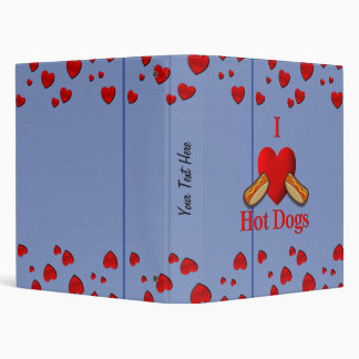 I Heart Hot Dogs 3 Ring Binder