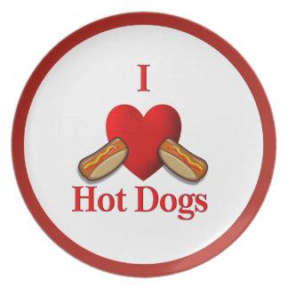 I Heart Hot Dogs Dinner Plate