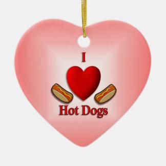 I Heart Hot Dogs Double-Sided Heart Ceramic Christmas Ornament