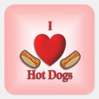 I Heart Hot Dogs Square Sticker
