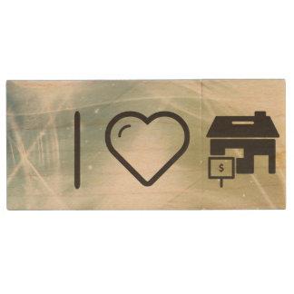 I Heart House Sales Wood USB Flash Drive