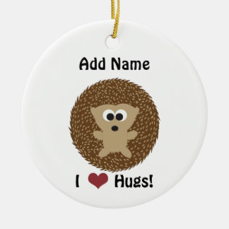 I Heart Hugs hedgehog Ceramic Ornament