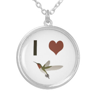 I heart Hummingbirds Silver Plated Necklace