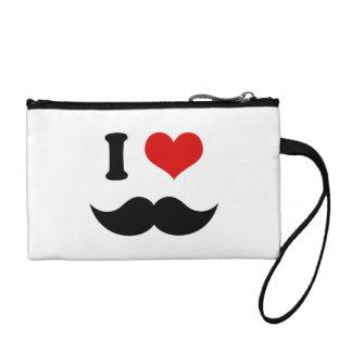 I Heart I Love Black Mustache Coin Purse