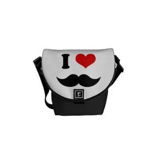 I Heart I Love Black Mustache Courier Bag